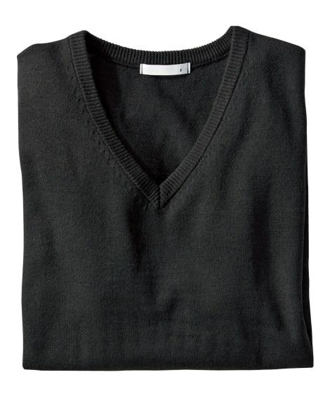 洗濯機で洗える薄手無地Vネックセーター (ニット・セーター)