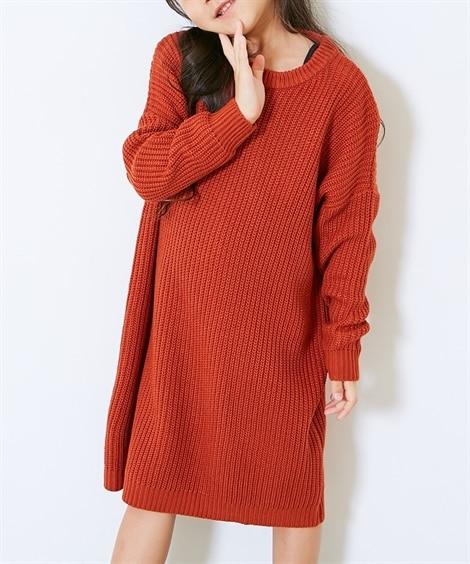 あぜ編みニットワンピース(女の子 子供服。ジュニア服) ワン...