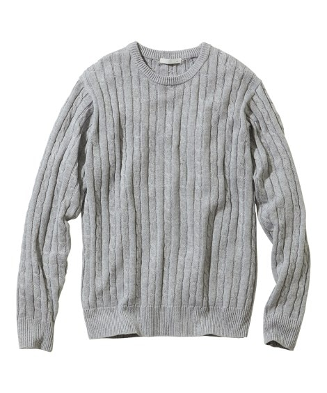 洗濯機で洗えるケーブル編セーター (ニット・セーター)Sweater,