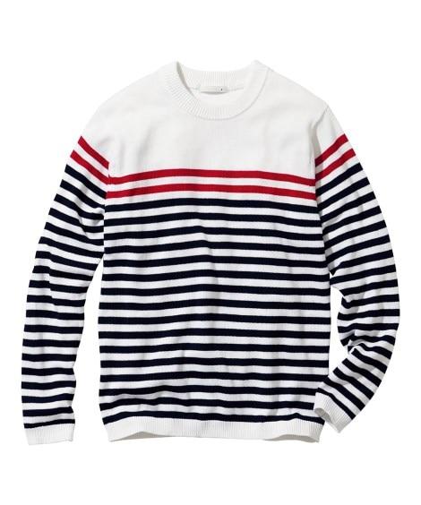 洗濯機で洗えるボーダ柄セーター (ニット・セーター)Sweater,