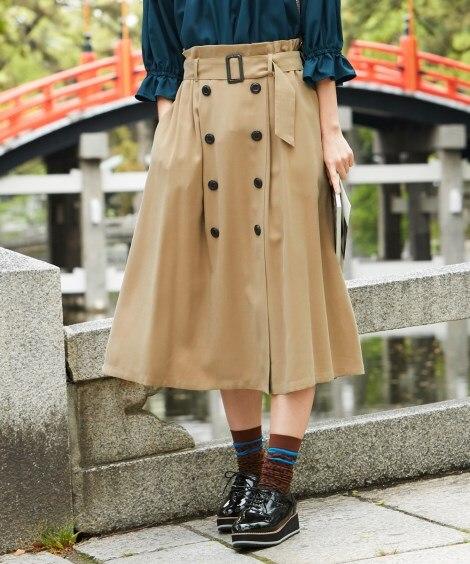 トレンチ風スカート(共布ベルト付) (大きいサイズレディース...