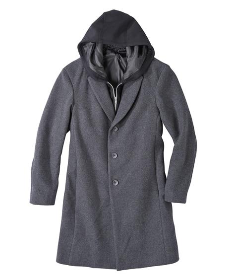ウール混重ね着風コート(肩まわりゆったりシルエット) コート...