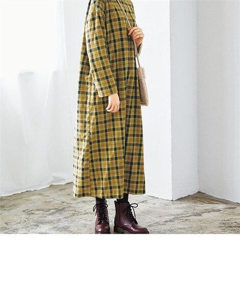 大きいサイズ 裏ボアフランネルゆったりサックワンピース ,スマイルランド, ワンピース, plus size dress
