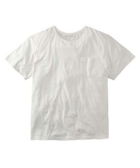 お腹ゆったり綿100%ポケット付半袖Tシャツ 大きいサイズメ...