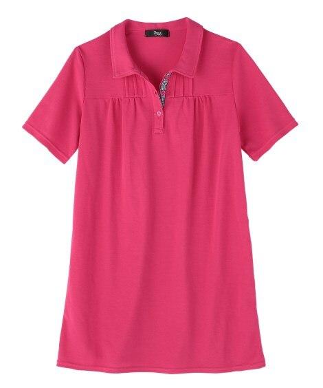 <ニッセン> 【女性大きいサイズ】 UVカット半袖ポロシャツチュニック 【大きいサイズレディース】ポロシャツ 価格:2149円商品画像