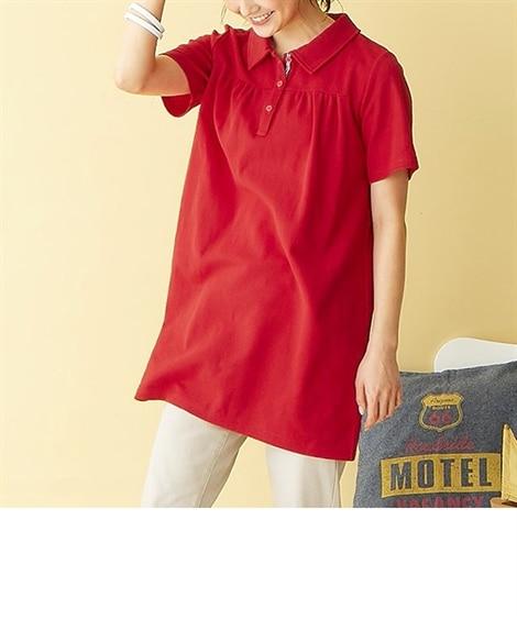 吸汗速乾。UVカット半袖ポロシャツチュニック (大きいサイズ...