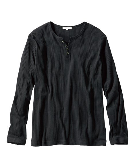 ランダムテレコヘンリーネック長袖Tシャツ Tシャツ・カットソ...