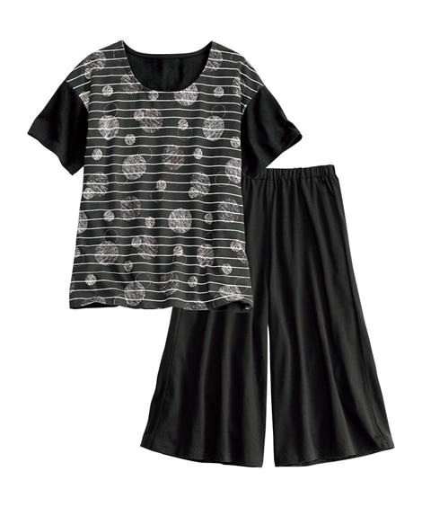 手書き風水玉プリント 綿混ルームウェア上下セット(M) (パジャマ・ルームウェア)Pajamas