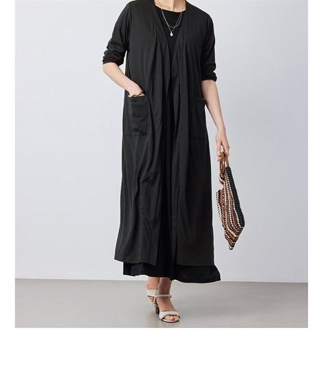 大きいサイズ サラッと快適2点セット(ロング丈カーディガン+ワンピース)(OtonaSMILE) ,スマイルランド, ワンピース, plus size dress
