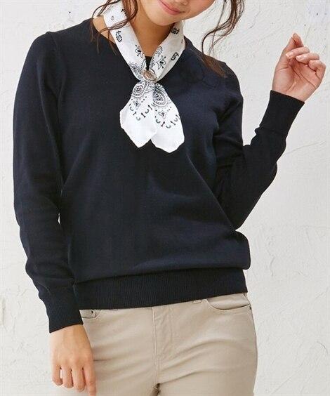 小さいサイズ 綿混クルーネックセーター アンサンブル