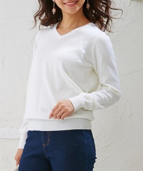 小さいサイズ 綿混Vネックセーター...
