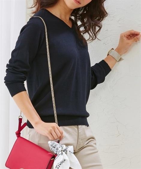 【小さいサイズ】 小さいサイズ 綿混Vネックセーター 【女性...
