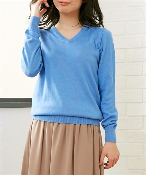 小さいサイズ 綿混Vネックセーター ポロシャツ