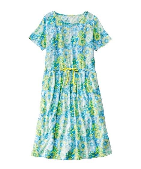 綿混胸二重花柄半袖ルームワンピース (パジャマ・ルームウェア)Pajamas