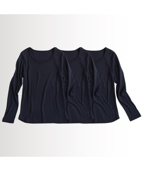 UVカット綿100%フライス素材クルーネック長袖Tシャツ3枚...