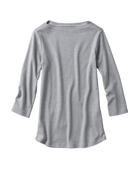 UVカット綿100%フライス素材ボートネック7分袖Tシャツ ...
