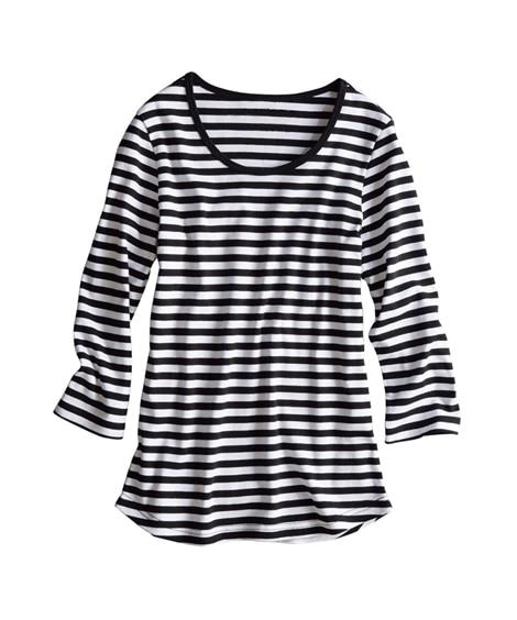 UVカット綿100%フライス素材クルーネック7分袖Tシャツ ...