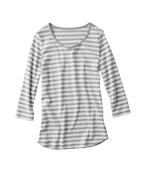 綿100%クルーネック7分袖Tシャツ Tシャツ・カットソー