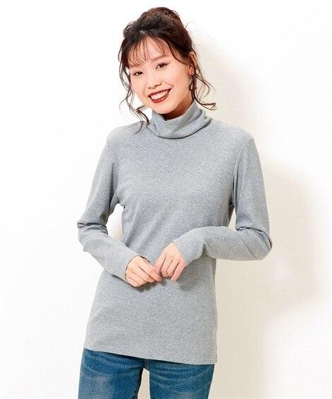 綿100%タートルネックTシャツ (大きいサイズレディース)...