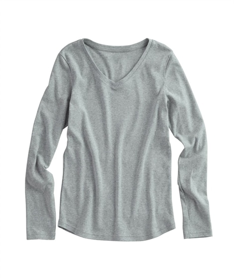 UVカット綿100%フライス素材Vネック長袖Tシャツ (Tシ...