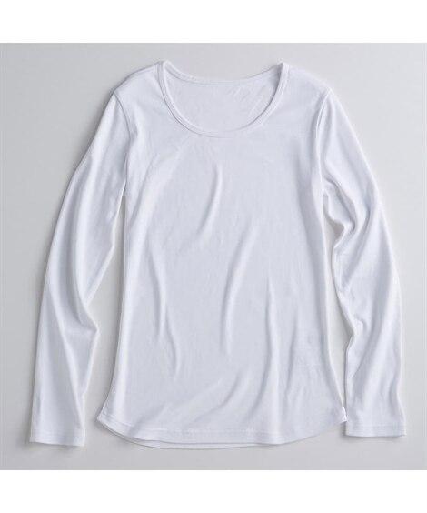 UVカット綿100%フライス素材クルーネック長袖Tシャツ (...