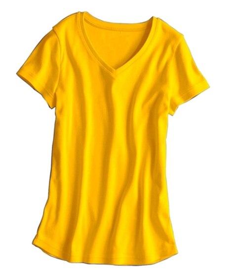 UVカット綿100%フライス素材Vネック半袖Tシャツ Tシャ...