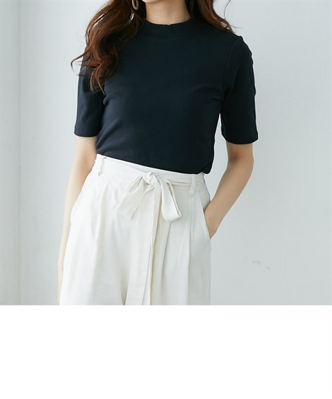 UVカット綿100%フライス素材プチハイネック5分袖Tシャツ...