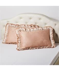 綿混サテン地ダマスク柄フリル付枕カバー(同色2枚組)の小イメージ