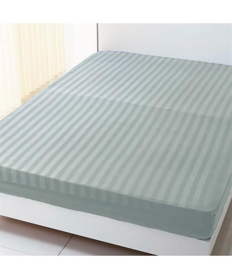 高密度綿100%サテン地ストライプ柄ベッドシーツ(マットレス...
