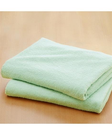 肌ざわりのいいデイリーカラー中厚手大判バスタオル同色2枚セッ...