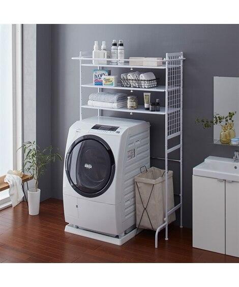 バスタオルバー付伸縮ランドリーラック 洗濯機ラック・ランドリ...