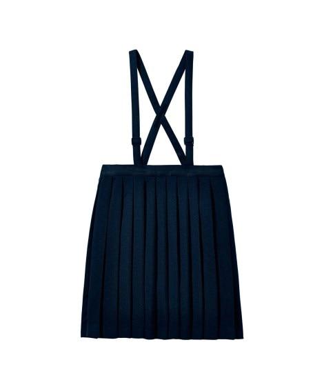 【もっとゆったりサイズ】プリーツスカート(肩ひも調節) 制服...