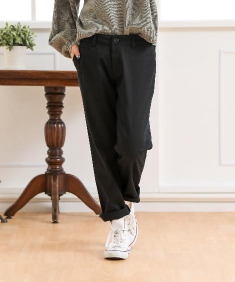すごく伸びる綿混ルーズフィット9分丈テーパードパンツ(股下68cm) (レディースパンツ),pants