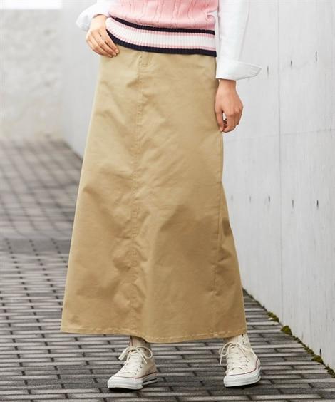 すごのびストレッチツイルロングスカート(ゆったりヒップ) (...