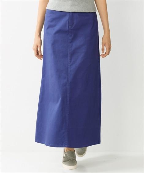 【大きいサイズ】 すごのびストレッチツイルロングスカート(ゆ...