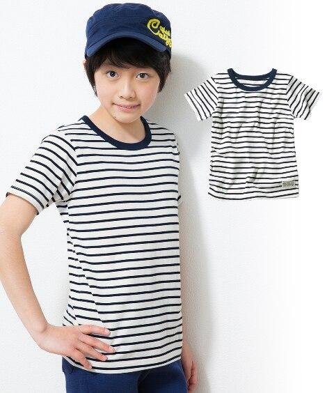 綿100%先染ボーダー半袖Tシャツ(男の子。女の子 子供服。...
