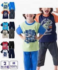 c376f4fd453b2 綿100% 配色プリント半袖パジャマ2セット組(Tシャツ2枚+