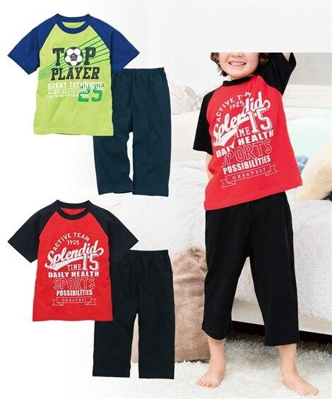 綿100%プリントパジャマ2セット組(Tシャツ2枚+パンツ2枚)(男の子 子供服。ジュニア服) キッズパジャマ, Kids' Pajamas