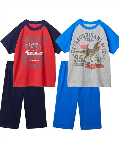 綿100%半袖プリントパジャマ2枚組(男の子 子供服 ジュニア服) キッズパジャマ, Kids' Pajamas