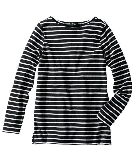 綿100%ボートネックボーダーTシャツ (大きいサイズレディ...
