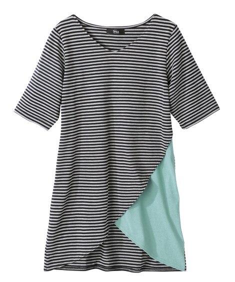 <ニッセン> 5分袖カットソー切替デザインチュニック (大きいサイズレディース)チュニックplus size