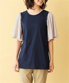 <ニッセン> 5分袖カットソー切替デザインチュニック (大きいサイズレディース)チュニックplus size 4