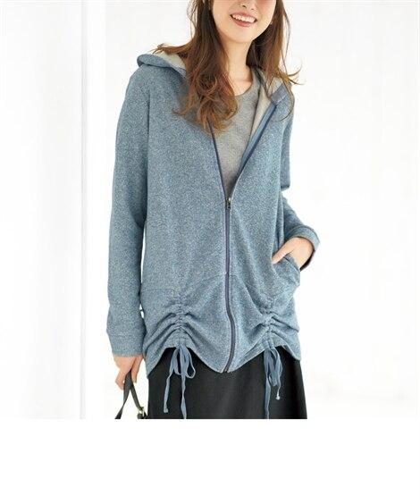 裾シャーリングデザインパーカ―(オトナスマイル) (大きいサ...