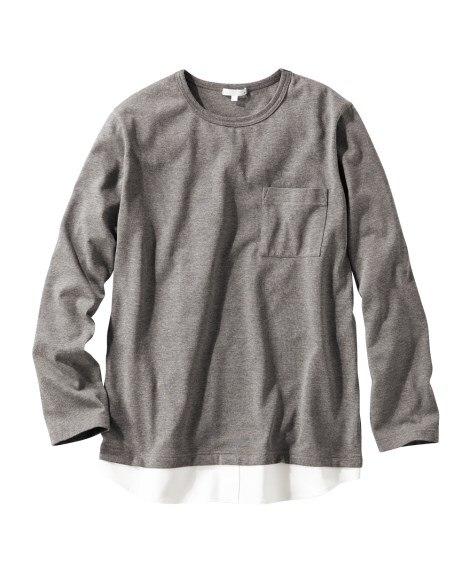 フェイクレイヤード長袖Tシャツ Tシャツ・カットソー, T-...