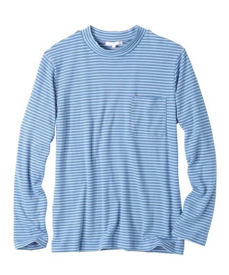 起毛ボーダー柄モックネック長袖Tシャツ Tシャツ・カットソー...