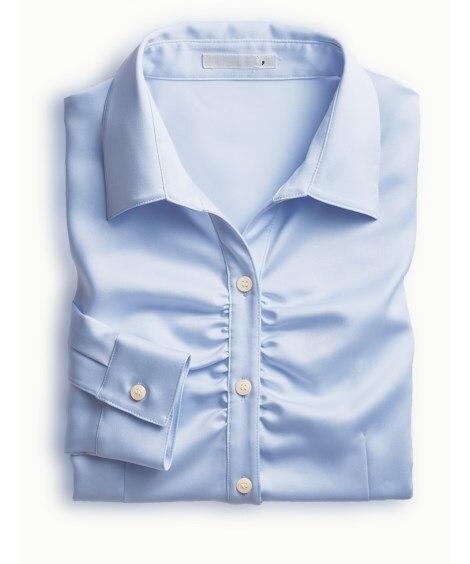 抗菌防臭加工付胸ギャザーパウダーサテンスキッパーシャツ
