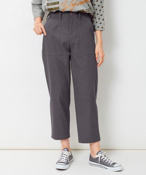【大きいサイズ】 綿100%9分丈ストレートパンツ パンツ,...