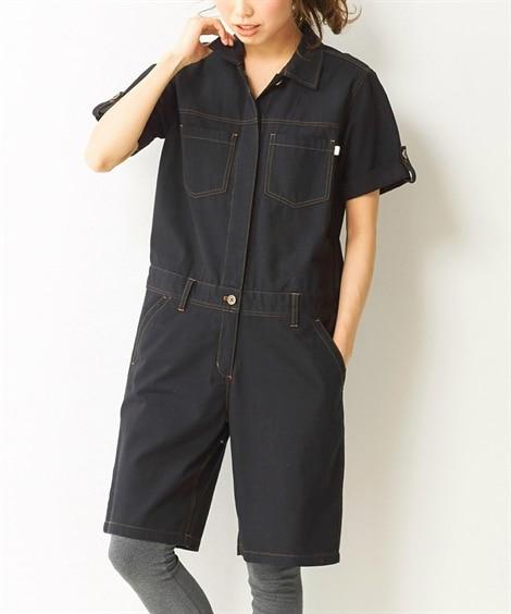 【大きいサイズ】 綿100%オールインワン パンツ, plus size pants