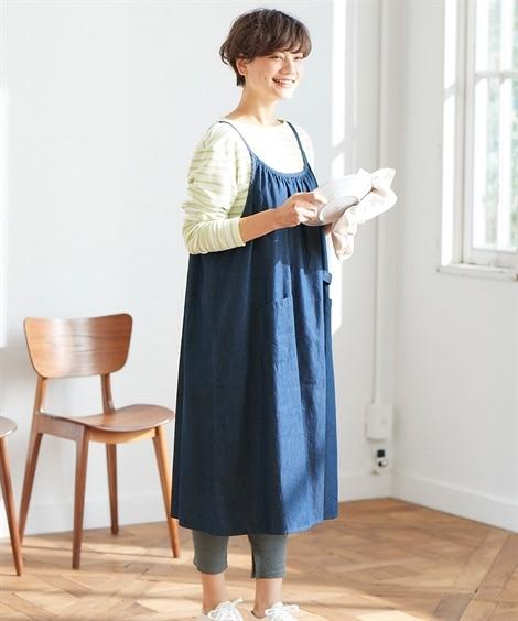 大きいサイズ  ワンピースみたいにすっぽり着られるデニムエプロン ,スマイルランド, ワンピース, plus size dress