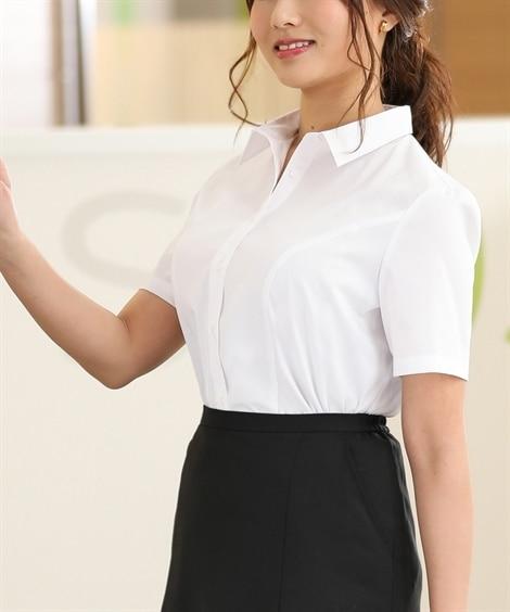 【大きい胸専用】ストレッチレギュラーカラー半袖シャツ グラマ...